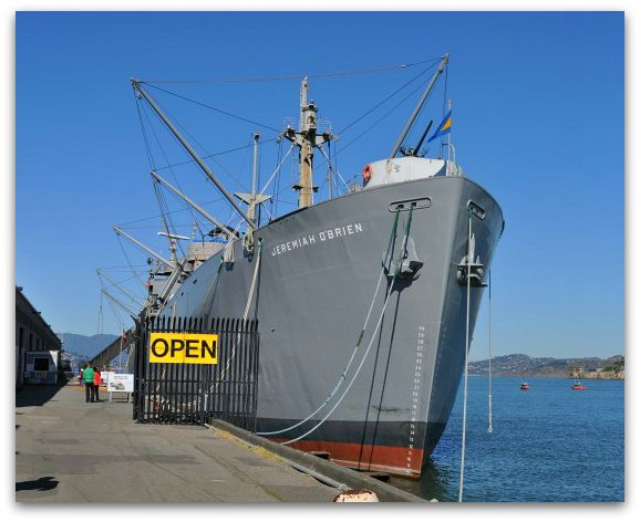 The SS Jeremiah O'Brien floating near the historic Pier 45 in San Francisco