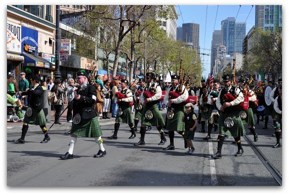 An Irish band performing in the Saint Patrick's Day Parade in San Francisco.