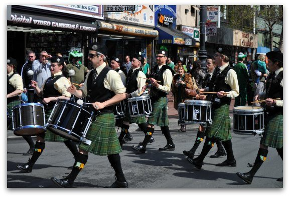 A band playing during the St. Patty's Day Parade in SF.