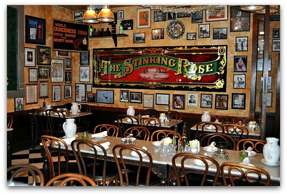 One of the main dining rooms at the Stinking Rose in San Francisco