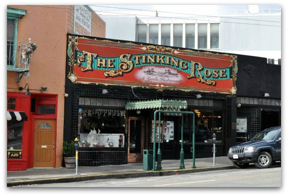 Outside shot of The Stinking Rose in SF