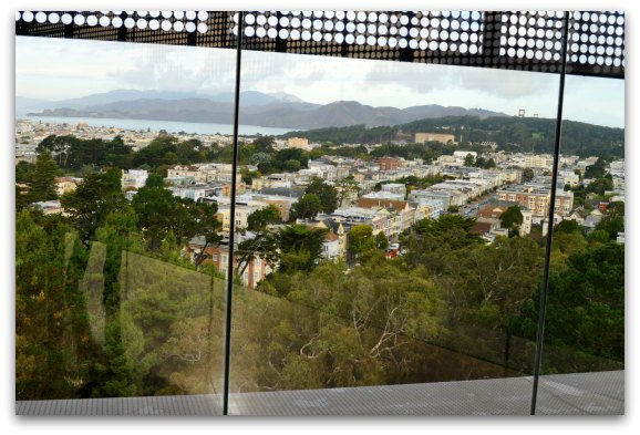 View of the bay and Golden Gate Bridge from the de Young Observation Tower
