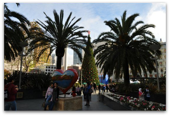 The Union Square tree at Christmas time in San Francisco.