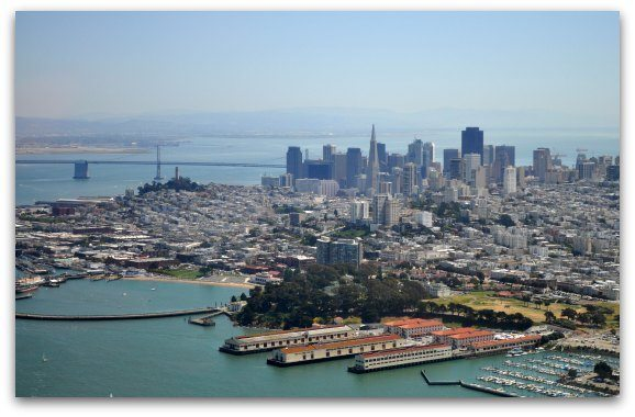 Views of downtown san francisco from a small airplane