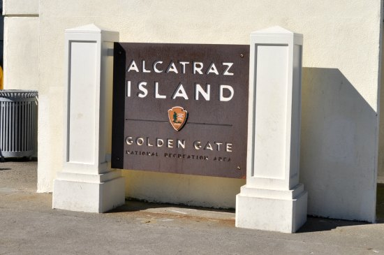 The main sign you'll see when you step off the Alcatraz Ferry