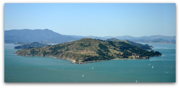 A view of Angel Island from above