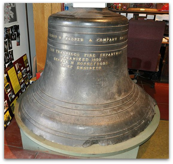 The large, historic bell at the San Francisco Fire Department Museum
