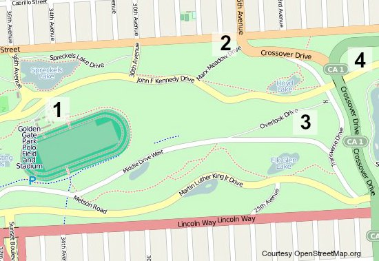A bike parking map for the Hardly Strictly Bluegrass Festival