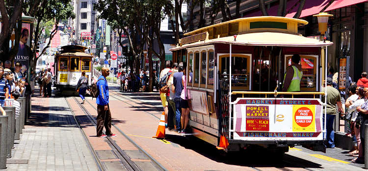 Cable Cars in Union Square in San Francisco