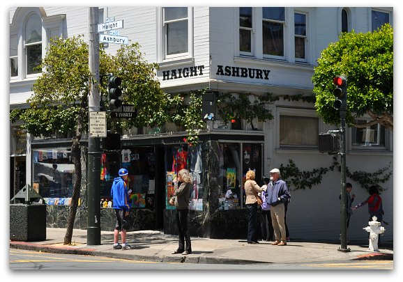 The corner of Haight and Ashbury Streets in SF.