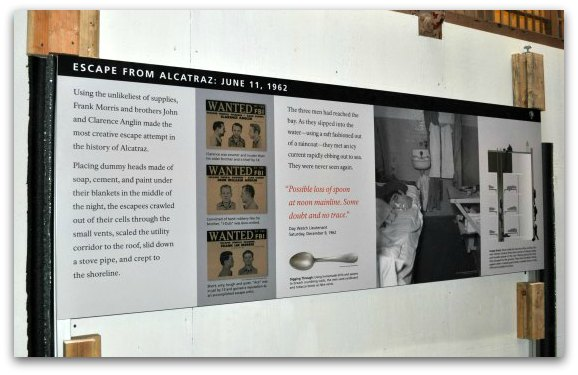The sign telling the story of the famous 1962 escape attempt from Alcatraz
