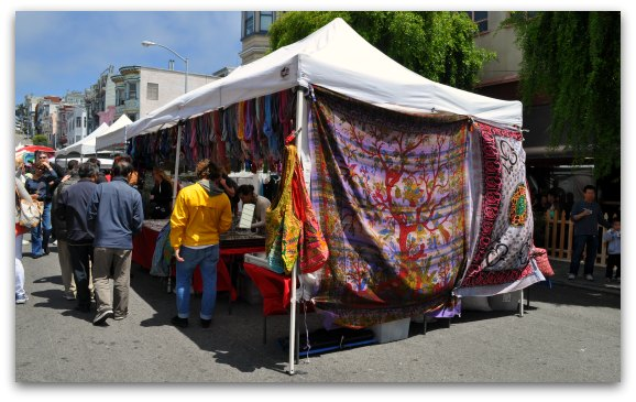 Booths at the Fillmore Street Fair in San Francisco