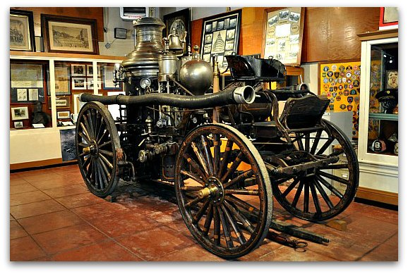 An original fire department vehicle found at the SF Fire Department Museum