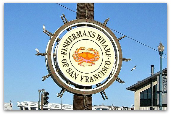 The famous Fishermans Wharf sign in San Francisco