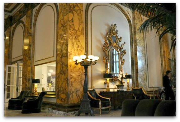 The lobby of the fairmont hotel in SF's Nob Hill area