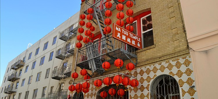 The exterior of the Ma Tsu Temple in Chinatown.