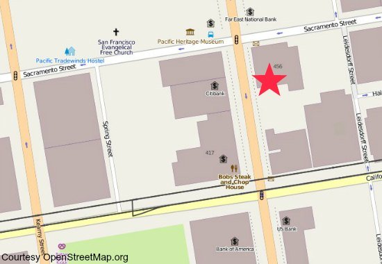 A map showing the location of the Wells Fargo Museum