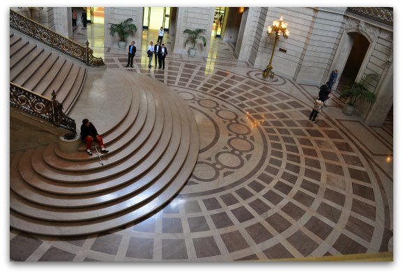 The pink marble floor in SF's City Hall