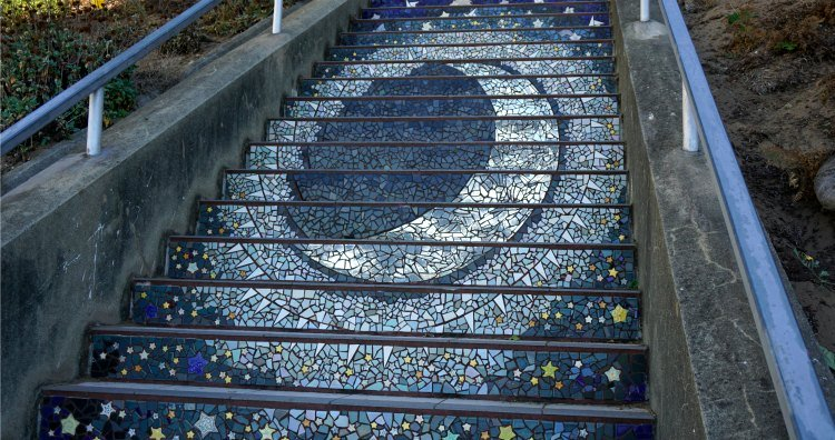 Moon on the stairs in San Francisco