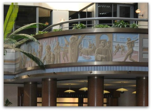 The modern murals found in the new portion of the Rincon Center building in San Francisco.