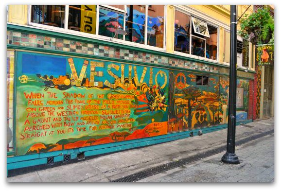 The mural in North Beach next to Vesuvio Cafe