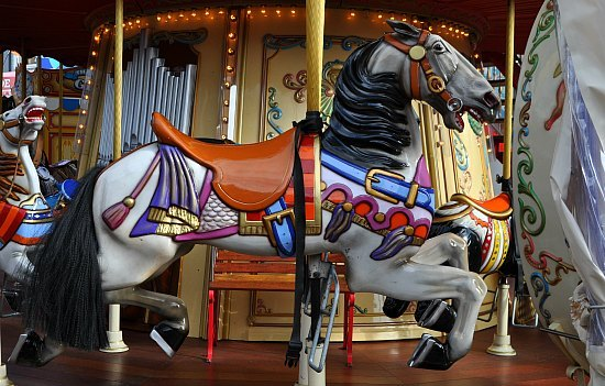One of the horses on the Pier 39 carousel.