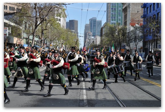 An Irish Band in the Saint Patty's Day Parade in SF