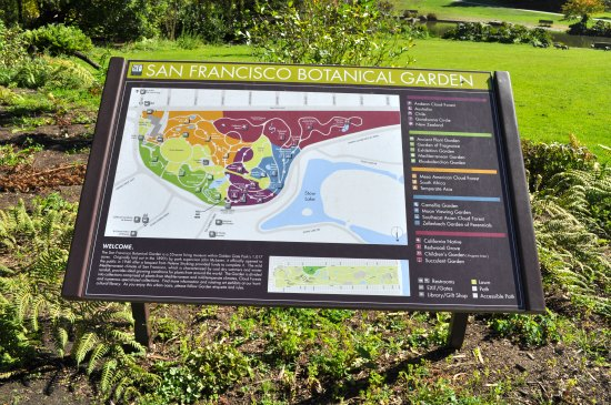 Maps in the San Francisco Botanical Gardens showing the different areas.