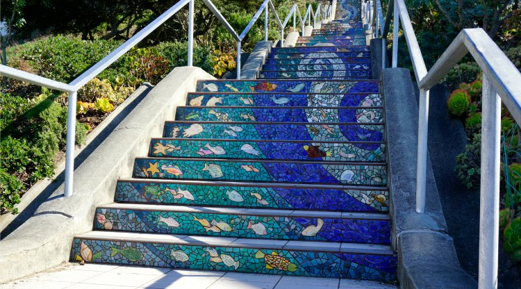 Sea Creatures in stairs in San Francisco