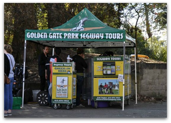 The check in booth for the Golden Gate Park Segway Tour.