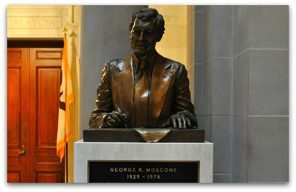 Statue of Mayor Moscone outside the Mayors Office in SF