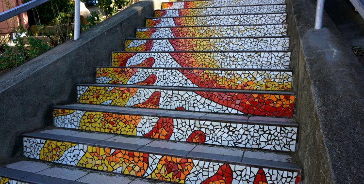 Sun on the stairs in San Francisco
