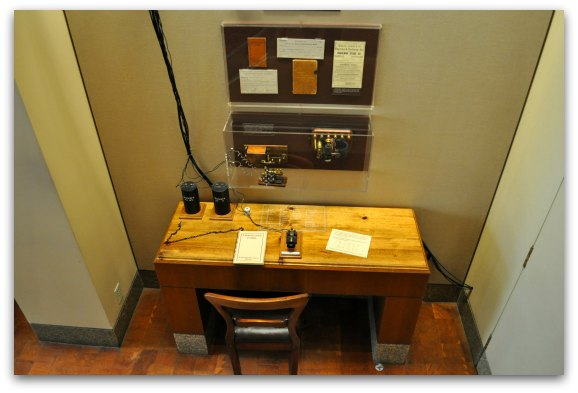 An interactive display at an SF museum showing how a telegraph worked.