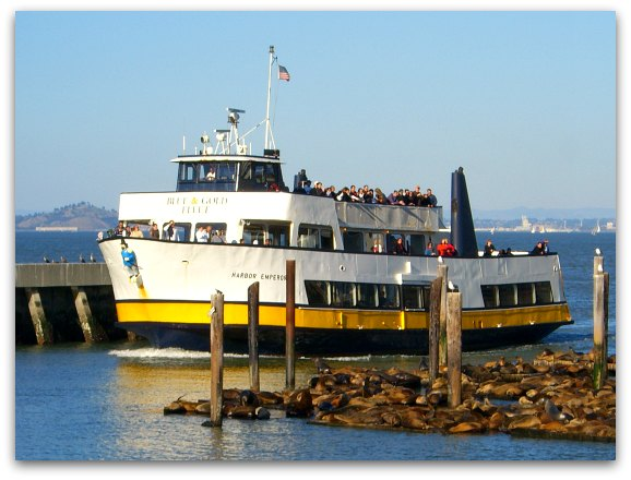 One of the Tiburon ferries coming into Pier 41 in SF's Fisherman's Wharf