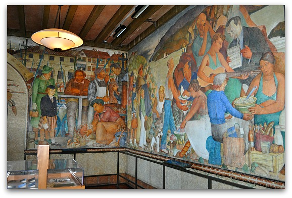 The murals on the first level of the Beach Chalet.